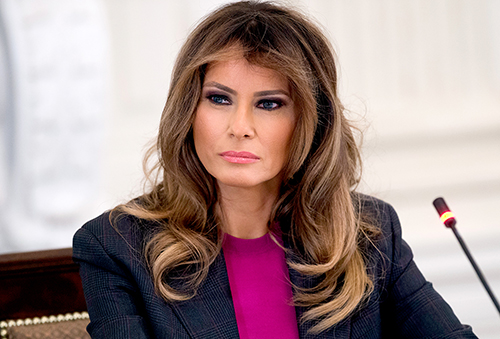 Melania Trump holds a roundtable discussion on cyber safety with technology leaders in the State Dining Room of the White House in Washington, DC, March 20, 2018. SAUL LOEB